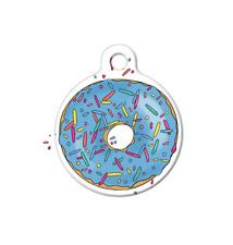 Pet ID Name Tag Blue Sprinkles Donut Doughnut Personalised Custom Dog Cat Tag