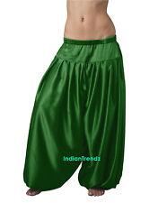 Green Satin Harem Yoga Pant Belly Dance Pantaloons Bombachos Aladdin Halloween
