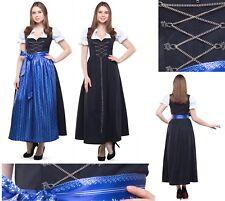 Dirndl Lang Maxi 3 tlg Set Gr 38- 60 Schwarz blau Trachtenkleid Oktoberfest 9020