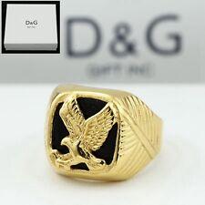 Dg Men's Stainless Steel Black Eagle Onyx Ring Size 8 9 10 11 12 13 + Box