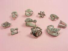 1 x Silver HEART / LEAF / SWAN w/Rhinestone Pendant PINCH BAIL Jewelley Findings