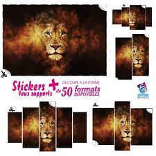 STICKERS LION FEU FLAMME - IMPRESSION IMAGE 60 MODELES IMPRIMEE DECO MURAL LIO-1