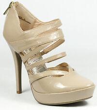 Blush Beige Patent High Heel Strappy Pointy Toe Platform Pump Anne Michelle