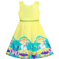 US STOCK! Girls Dress Unicorn Rainbow Cartoon Yellow Princess Size 4-12