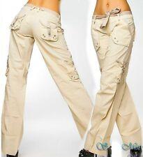 SeXy Miss Damen Cargo Taschen Sommer Stoff Hose Bindegürtel 34 36 38 40 beige