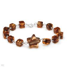 Brown Murano Glass Bracelet in 925 Sterling Silver