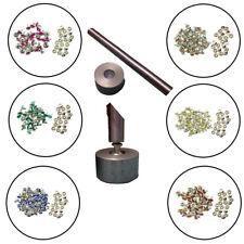 Crystal Rhinestone Diamante Rivets Studs with 10mm Rivets Setting Tool Set Die