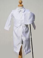 New Baby Boys Infant Christening Baptism White Outfit Set Dedication w/ Hat SB