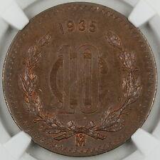 1935 MO Mexico 10 Centavos Bronze, NGC MS-64 BN