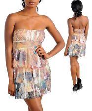 WOMENS DRESS Semi Formal Chiffon tiered sublimation S-L