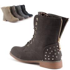Neu Damen Schnür Stiefeletten Biker Boots Strass Nieten Stiefel 1827 Schuhe