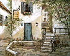 Ruane Manning: Hotel de la Place Keilrahmen-Bild Leinwand Dorf Idylle