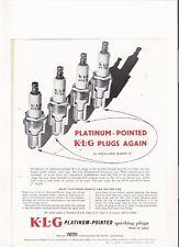 KLG PLATINUM SPARK PLUGS  BROCHURE 1957 jm