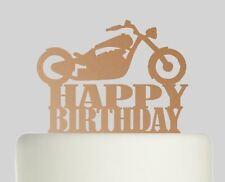 Motorbike Chopper Happy Birthday Rose Gold Mirror Acrylic Cake Topper.607