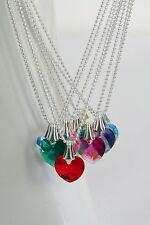 "CHILDS GIRLS 15"" STERLING SILVER 925 CRYSTAL Heart NECKLACE Swarovski Elements"
