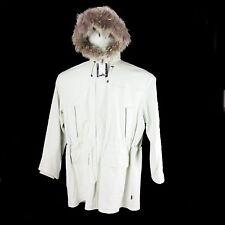 Sean John Men Lamb Skin Leather Long Coat  With Hood and Fur