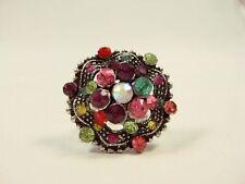 Vintage Design Silver tone Flower Ring Color Crystals