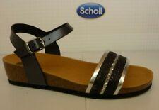 Scholl Ivette Black Glitter Buckle Ankle Strap Bioprint Footbed Sandal