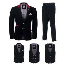 Mens Black Velvet Vintage 3 Piece Suit Blazer Waistcoat Trouser, Sold Separately