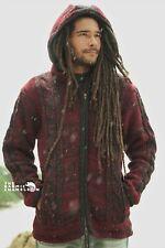 Warm Hippie Jacket Maroon Red Black Double Knitted Fleece Lined Coat Aran Nepal