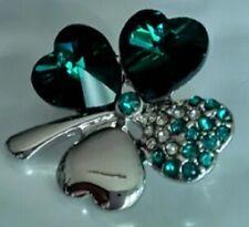 Emerald Dark Green Four Leaf Clover Shamrock Brooch Irish Silver Lapel  Broach