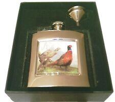 En caja Acero Inoxidable hip flask & embudo, 2 tamaños, Faisanes Juego Caza VP90