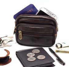 Pebble Leather Passport Fanny Travel Bag Belt Loop Cell phone Pouch Hiker,Gun