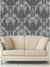 Debona Damask Medina Flock Effect Silver Black Luxury Feature Wallpaper 4002