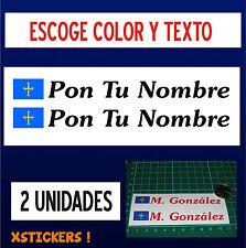 2 Unidades PEGATINAS PERSONALIZABLES -BANDERA DE ASTURIAS CON NOMBRE - VINILO