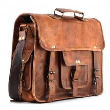 """17"""" Vintage Bull Leather Tote Mens Briefcase Laptop Case Messenger Shoulder Bag"""
