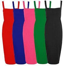 Nouveau Femme large encolure carrée robe longue à lanières midi 8-22