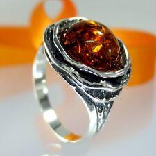 A212 Damen Ring Blume Rose 925 Silber Schmuck Bernstein Amber versch. Größen