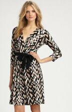 $295 DKNY Jersey Stretch Faux Wrap Surplice Kinetic Print Dress L