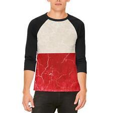 Distressed Grunge Polish Flag Mens Raglan T Shirt