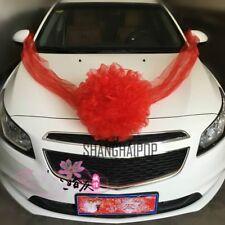 Cars Wedding Decoration Kit Organza Flower Ball Ribbon Bows Wrap Pink/Red/Orange