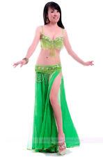 Free shipping Belly Dance Costume 2PCS of Bra&Belt 32-34B/C 36B/C 38B/C 10 color