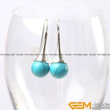 10mm Round Gemstone Bead White Tibetan Silver Hook Dangle Earrings Jewelry  YB