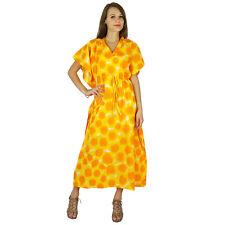Jaune Phagun Caftan Longue Maxi Imprimé Vêtements De Nuit Caftan Robe De Coton