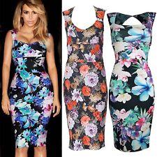 Ladies Women Floral Flower Print Celebrity Style Knee Midi Bodycon Top Dress