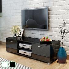 vidaXL White/Black High Gloss TV Stand Cabinet Entertainment Unit Shelf 140cm