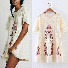 Embroidery Boho Flower Spliced Hollow Wrinkle Short Mini Dress Lace Tunic ADE