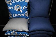 8 CORNHOLE BEAN BAGS made w DETROIT LIONS Fabric ACA Reg Bag Toss Game