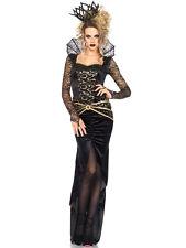 Vestido de fiesta nuevo Negro y Oro Oscuro Magic Queen Halloween Disfraz Elaborado ladcos 40