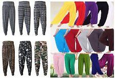 Womens Plain Printed Harem Trousers Pants Ali Baba Baggy Aladin Boho Hippy 8-26