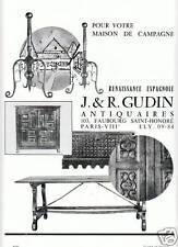"""Publicité Ancienne """" Meubles Renaissance Espagnole  """""""