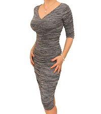 Blue Banana - New Grey Marl Ruched V Neck Jumper Dress