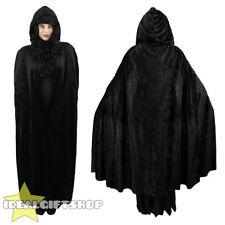 BLACK HOODED VELOUR CAPE VAMPIRE HALLOWEEN ADULTS FANCY DRESS CLOAK WOMENS MENS