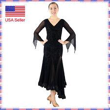 SFC012bk (US4_10) Women Ballroom Smooth Tango Country Dance Dress Top Skirt Set