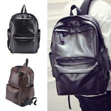 Men Women Leather Black Backpack Satchel Rucksack Shoulder Fashion School Bag