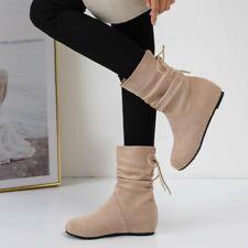 Women Casual Flat Heel Boots Round Toe Non-slip Comfort Hidden Heel Shoes Size43